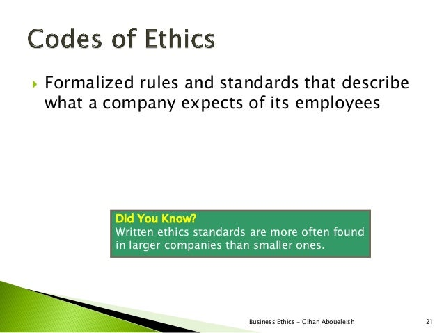    Formalized rules and standards that describe    what a company expects of its employees            Did You Know?      ...