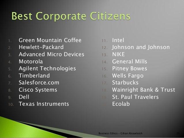 1.    Green Mountain Coffee      11.     Intel2.    Hewlett-Packard            12.     Johnson and Johnson3.    Advanced M...