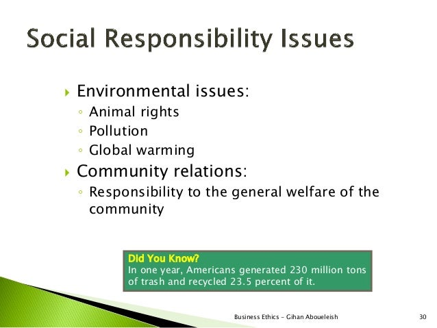    Environmental issues:    ◦ Animal rights    ◦ Pollution    ◦ Global warming   Community relations:    ◦ Responsibilit...