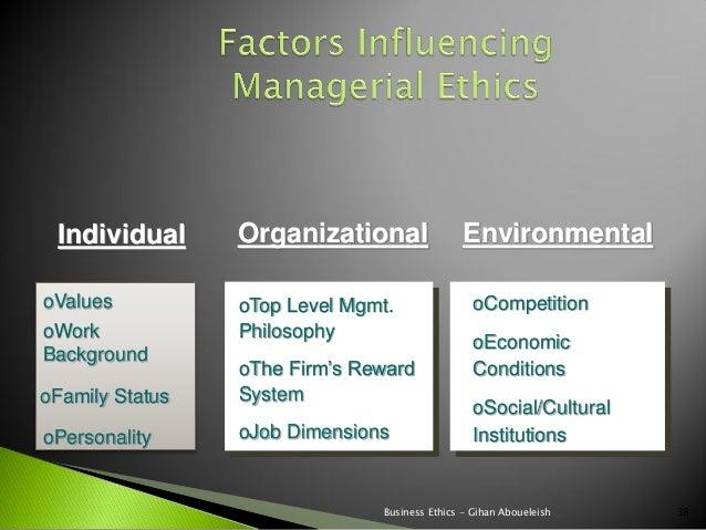 Individual      Organizational                EnvironmentaloValues          oTop Level Mgmt.                oCompetitionoW...