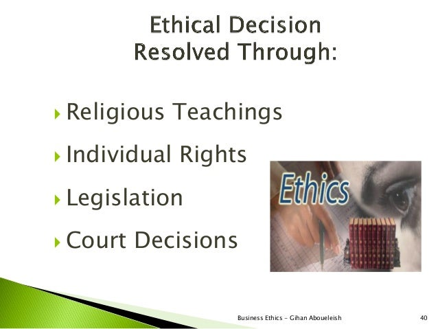  Religious    Teachings Individual   Rights Legislation Court   Decisions                    Business Ethics - Gihan A...
