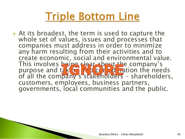    At its broadest, the term is used to capture the    whole set of values, issues and processes that    companies must a...