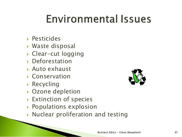   Pesticides   Waste disposal   Clear-cut logging   Deforestation   Auto exhaust   Conservation   Recycling   Ozo...