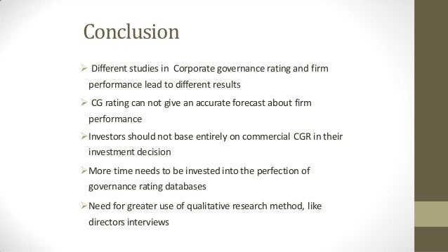 Business ethics and corporate governance rating.