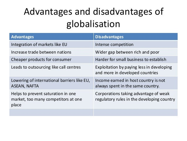 globalization advantage or disadvantage Globalization is the term that is used to describe the integration of international technology, communication and products it is the linking and sharing of.