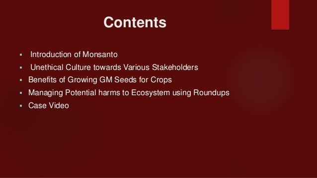 how should monsanto manage the potential