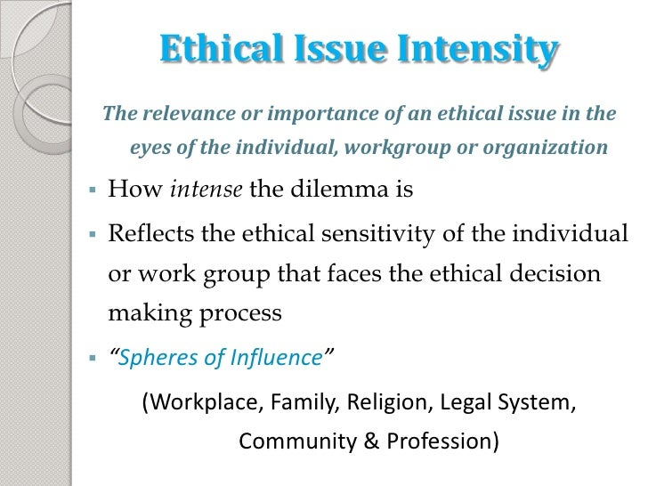 compare moral intensity and ethical sensitivity