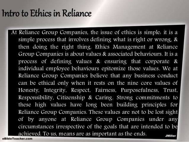 ethical dilemma faced by reliance