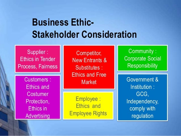 stakeholders and business ethics This paper examines the roles of dialogue in the process of communication with  stakeholders the conceptual frameworks of corporate social.