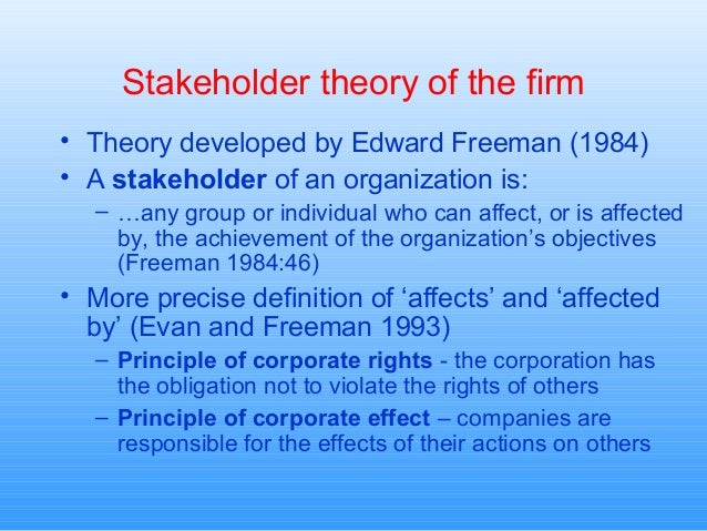 consequences of friedmans shareholder theory for Instead friedman argues that shareholders should themselves decide how much and to whom they would like to make donations some may argue that goods provided to society in a time of need build further allegiance to a corporation and in theory, meet the stockholder theory's requirement to look in the best interest of the stockholder.