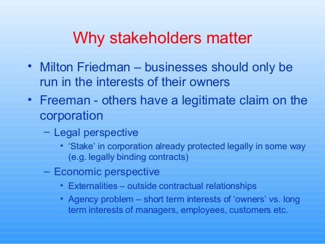 consequences of friedmans shareholder theory for hrm -consequences: effects of all parities must be taken into consideration, into calculation, before a decision is made -makes it stockholder theory look bad (like utilitarian vs ethical egoist argument.