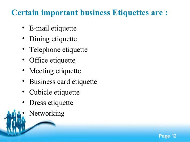 Delicieux Business Etiquette Certain Important Business
