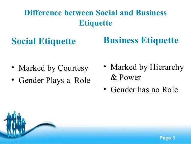 business etiquettes Business etiquette is the set of manners and social standards considered  respectful in the business world business etiquette comes into play in a number  of.