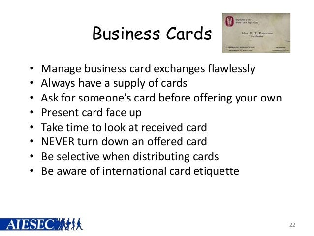 Business etiquette business cards reheart Choice Image
