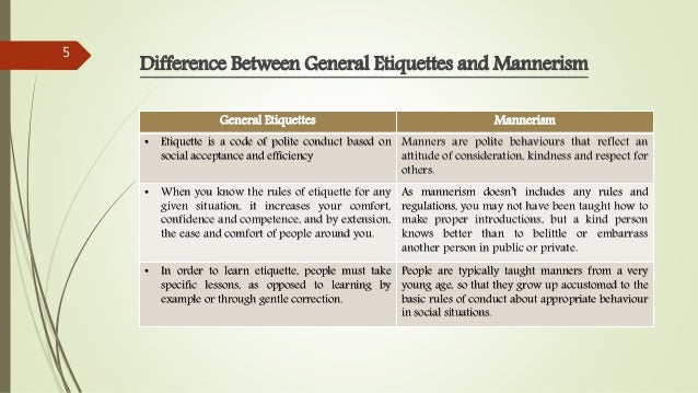 Difference Between General Etiquettes and Mannerism General Etiquettes Mannerism • Etiquette is a code of polite conduct b...
