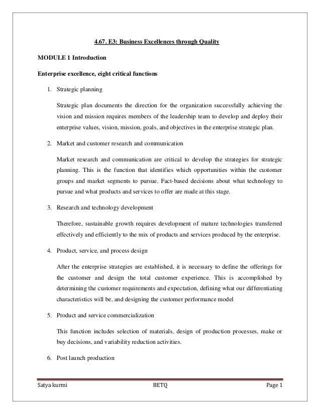 Satya kurmi BETQ Page 14.67. E3: Business Excellences through QualityMODULE 1 IntroductionEnterprise excellence, eight cri...