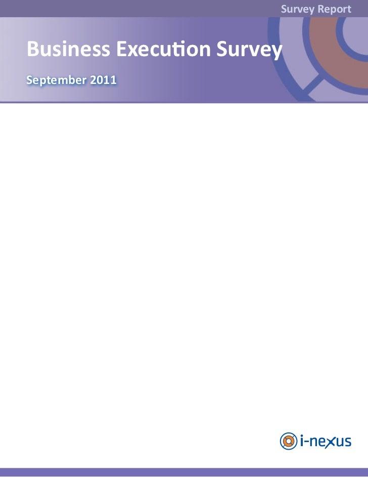 Survey ReportBusiness Execution SurveySeptember 2011