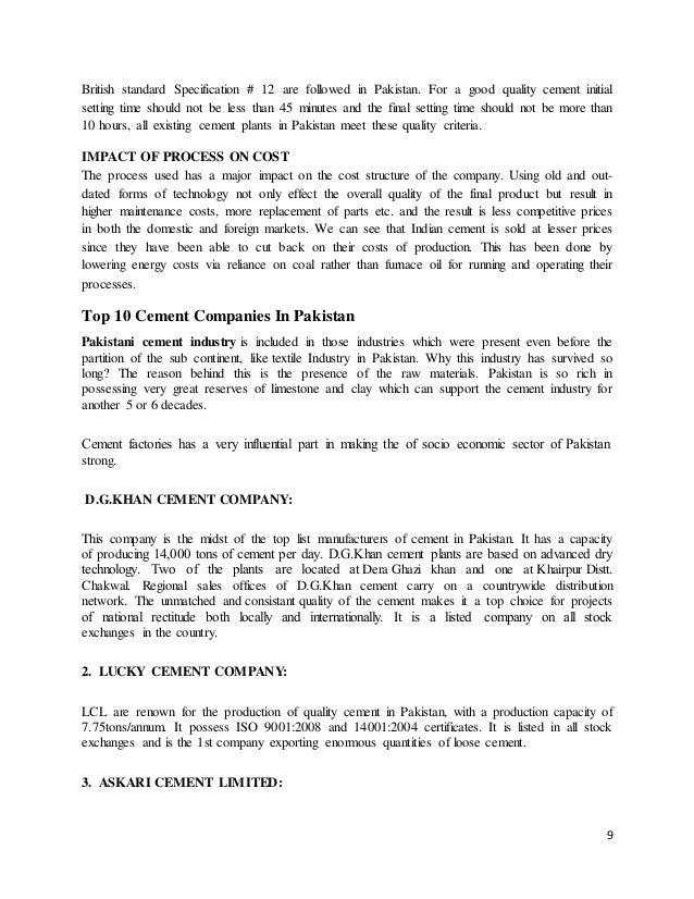 cement industry in pakistan pdf