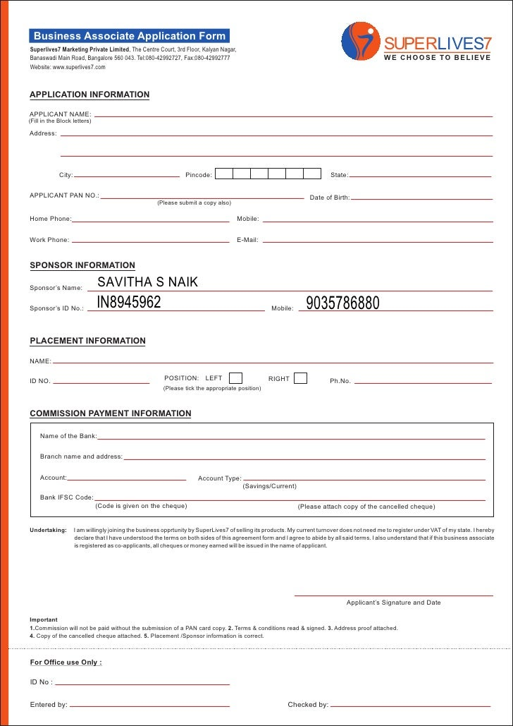 Superlives  Business Application Form