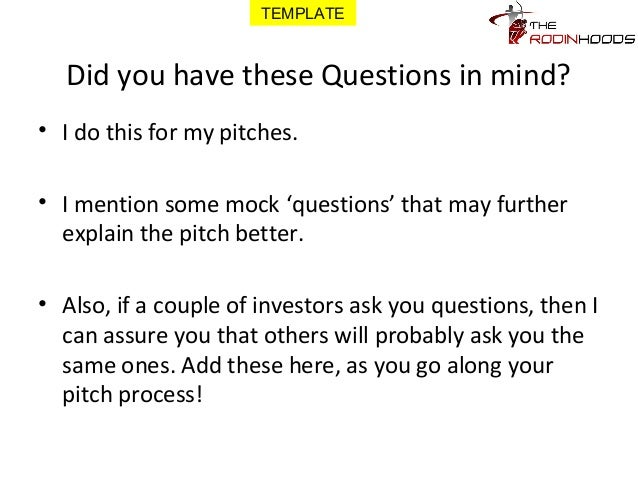 A Ready To Use Template For Pitching Your Business For Funding With