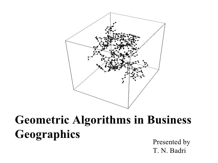 Geometric Algorithms in Business Geographics Presented by  T. N. Badri
