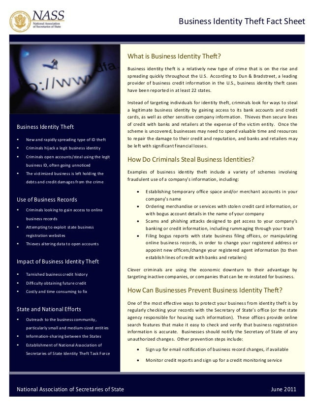 Business Identity Theft Fact Sheet          What is Business Identity Theft?  Business  identity  theft  is  a  relat...