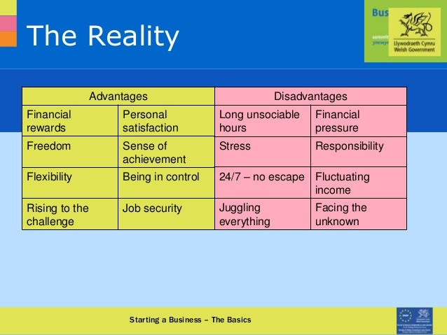 0870 950 90 90 www.businessinfocus.co.uk The Reality Starting a Business – The Basics Advantages Financial rewards Persona...
