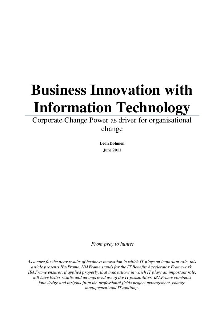 Business Innovation with Information Technology  Corporate Change Power as driver for organisational                      ...