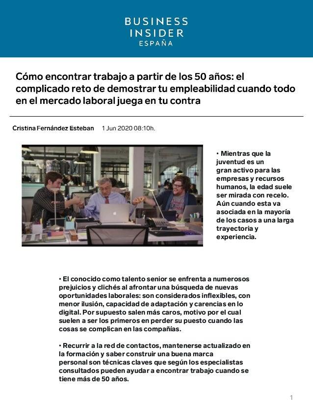 Business Inside España - Cómo encontrar trabajo a partir de los 50 años Slide 2