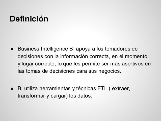 Business inteligence Slide 3