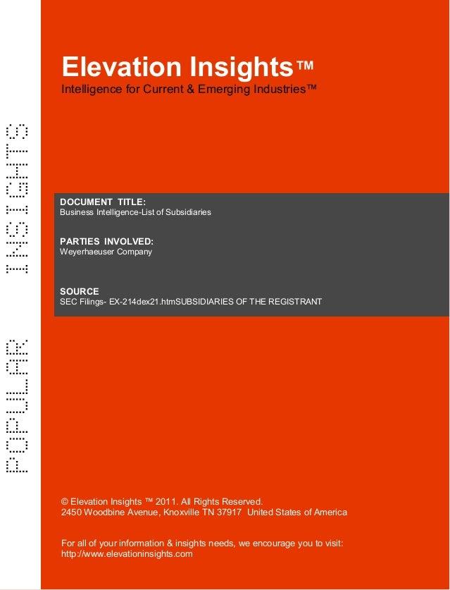 Elevation Insights™ | Business Intelligence - List of Subsidiaries- Weyerhaeuser
