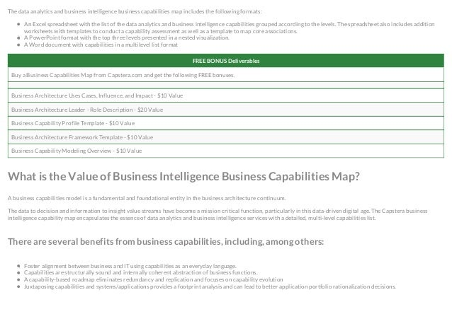 Business intelligence business capabilities map 2 the data analytics and business intelligence business capabilities map wajeb Gallery