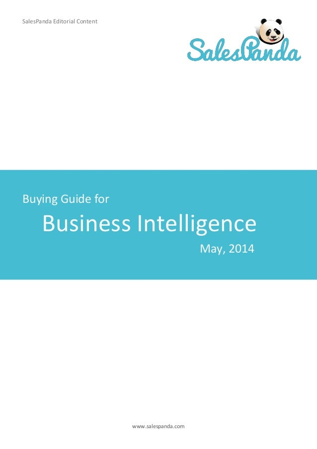 www.salespanda.com Business Intelligence SalesPanda Editorial Content Buying Guide for May, 2014