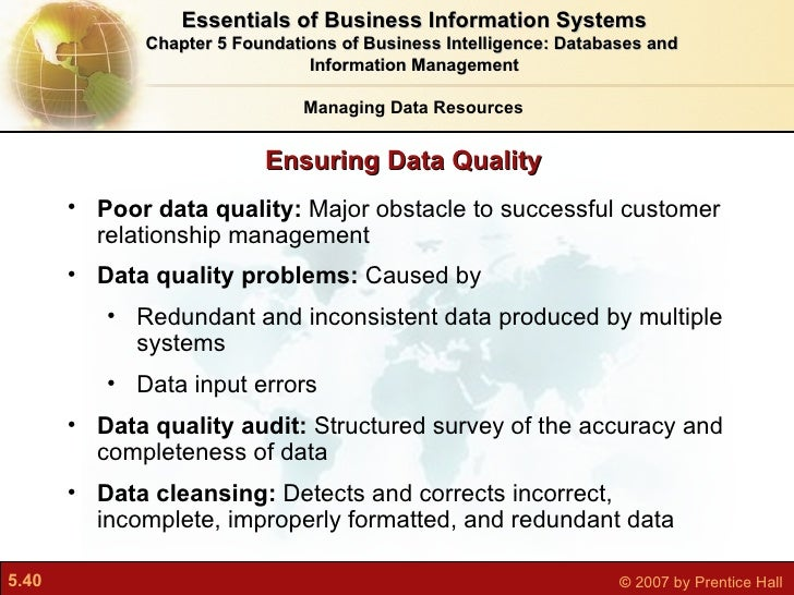 foundation of business intelligence databases and Case study chapter 6 foundations of business intelligence: databases and information management.