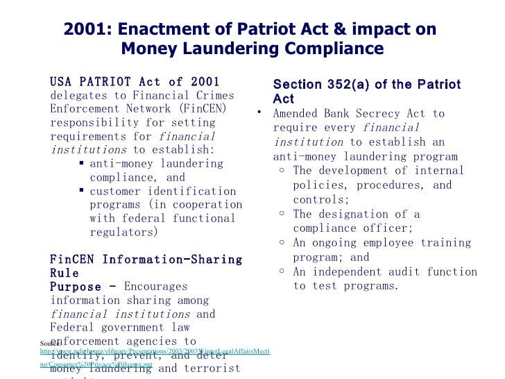 a commentary on the usa patriot act of 2001 3 speeds up investigations the patriot act allows the government's surveillance to transcend natural barriers and those that are man made speed is a major key to any sort of investigation into terrorism, and the patriot act allows for much faster inquiries into potentially suspicious activities.