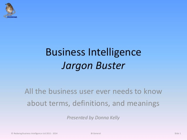 Business Intelligence Jargon Buster All the business user ever needs to know about terms, definitions, and meanings Presen...