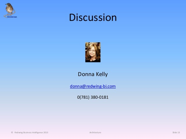 Discussion © Redwing Business Intelligence 2013 Architecture Slide 13 Donna Kelly donna@redwing-bi.com 0(781) 380-0181