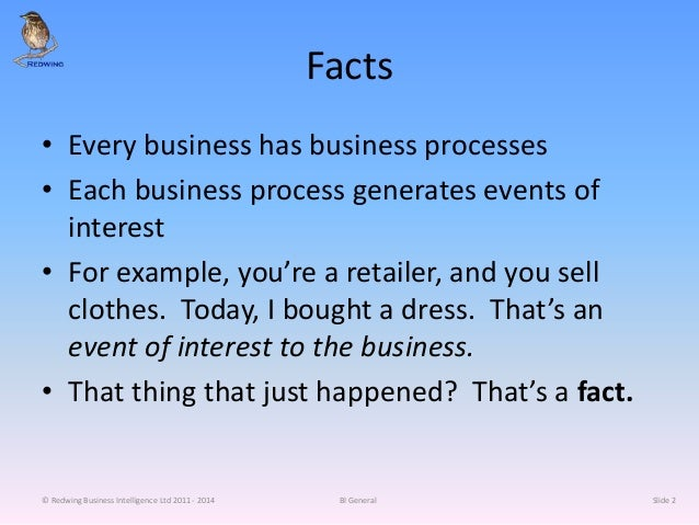 Facts • Every business has business processes • Each business process generates events of interest • For example, you're a...