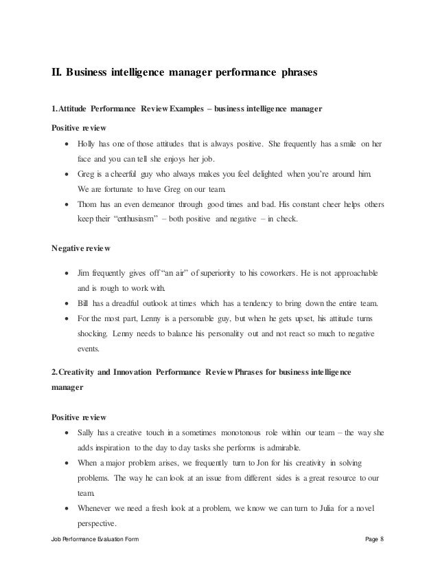 Business intelligence manager performance appraisal – Self Performance Review Example