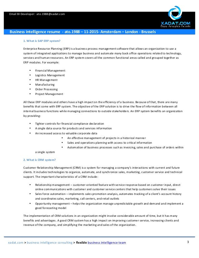 3 email bi - Business Intelligence Resume