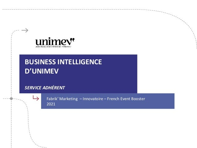 BUSINESS INTELLIGENCE D'UNIMEV SERVICE ADHÉRENT Fabrik' Marketing – Innovatoire – French Event Booster 2021