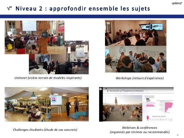 6 Faire de la veille prospective et d'innovation Réfléchir et identifier des pistes de travail pour tous Unimeet (visites ...