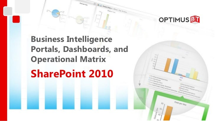 Business IntelligencePortals, Dashboards, andOperational MatrixSharePoint 2010