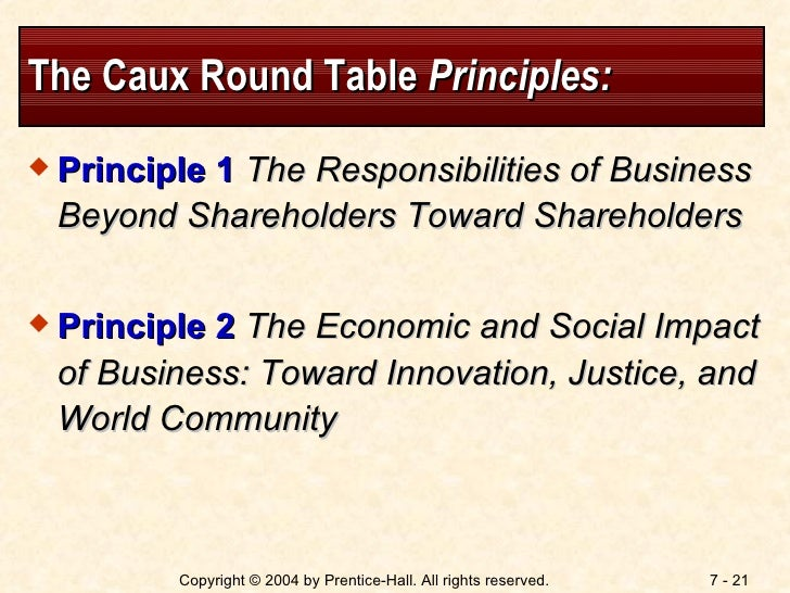 caux round table principle of ethics Introduction the caux round table principles for business the caux round table believes that the world business community should play an important role in improving economic and social conditions.