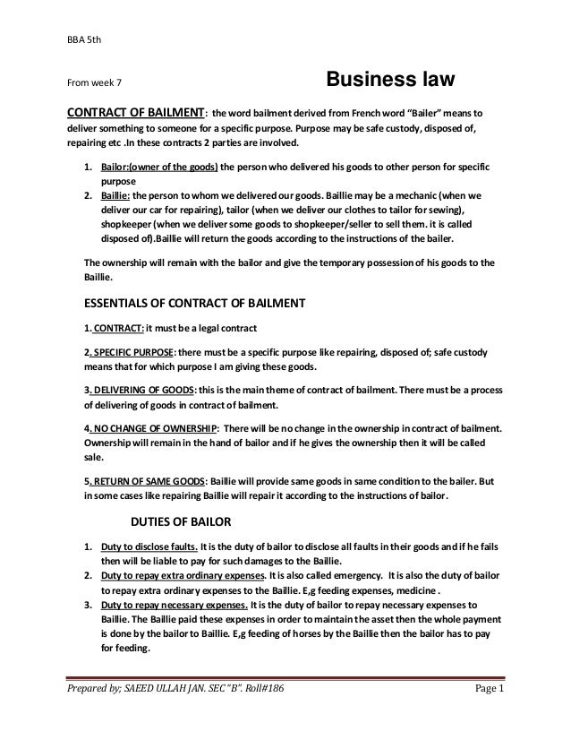 BBA 5thFrom week 7                                                     Business lawCONTRACT OF BAILMENT:              the ...