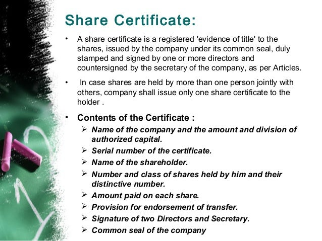 Shares MBA – Company Share Certificates