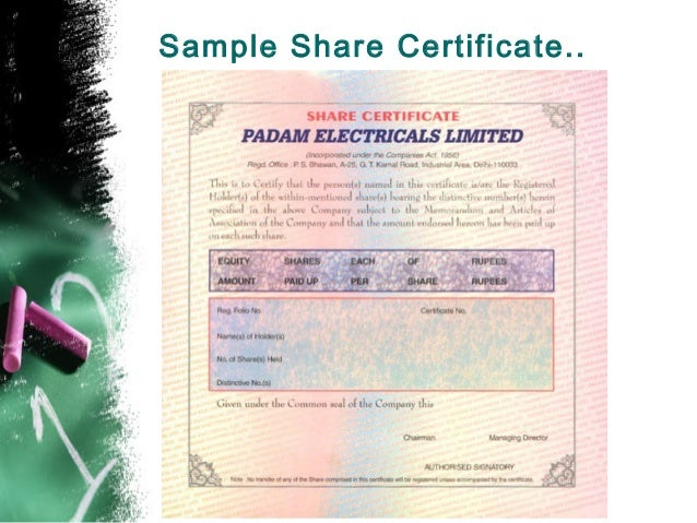 sample of share certificate