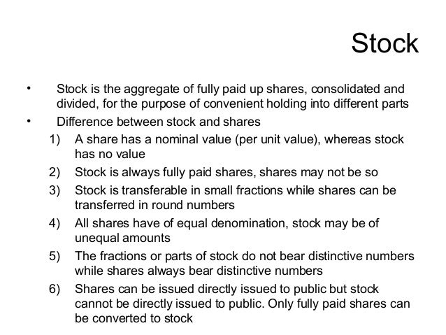 what is difference between share and stock