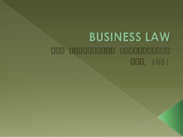 application of law of negotiable instruments in business