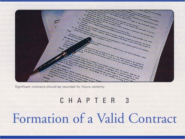 Formation of aFormation of a Valid ContractValid Contract